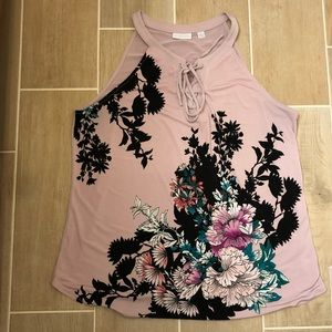 Women's NY&Co XL floral top with front accent tie
